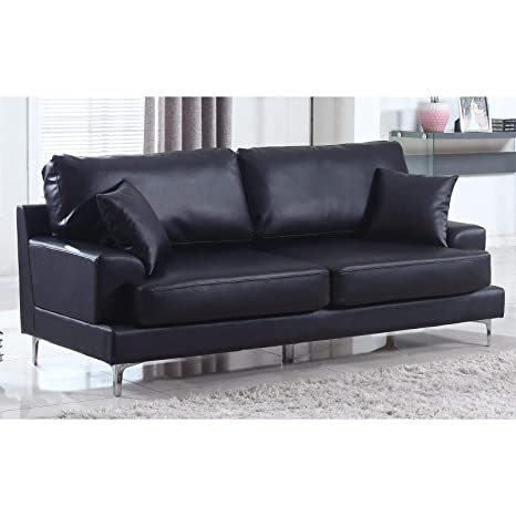 Madison Home Ultra Modern Plush Bonded Leather Living Room Sofa with Chrome  Leg Detail Black