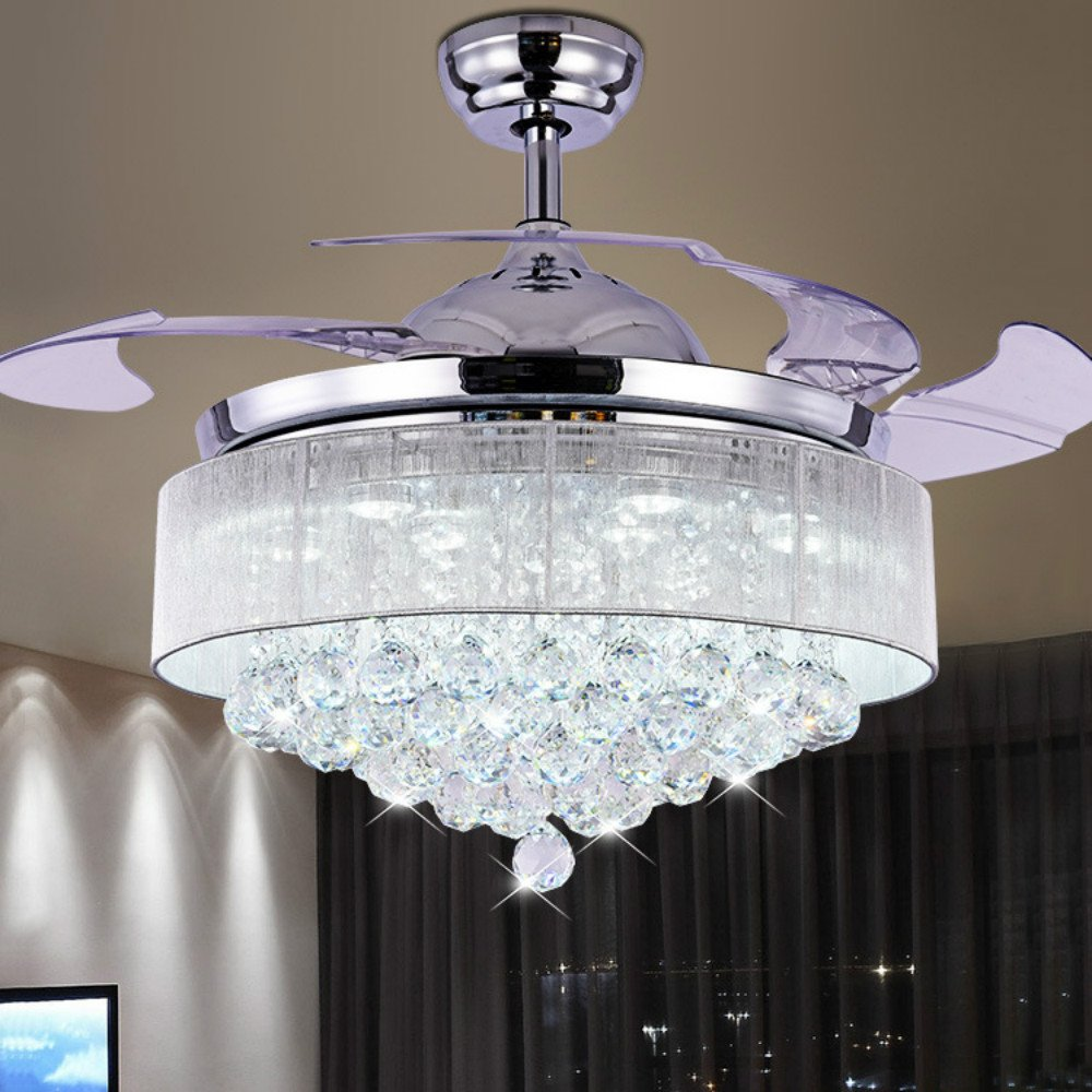 Lighting Groups Ceiling Fan Invisible Ceiling Fan and LED Chandelier 2 In 1, Retractable Blades Crystal Fan Lamp with Remote Control, 42 Inch Ceiling Light Fixtures for Indoor Bedroom, Chrome Finished