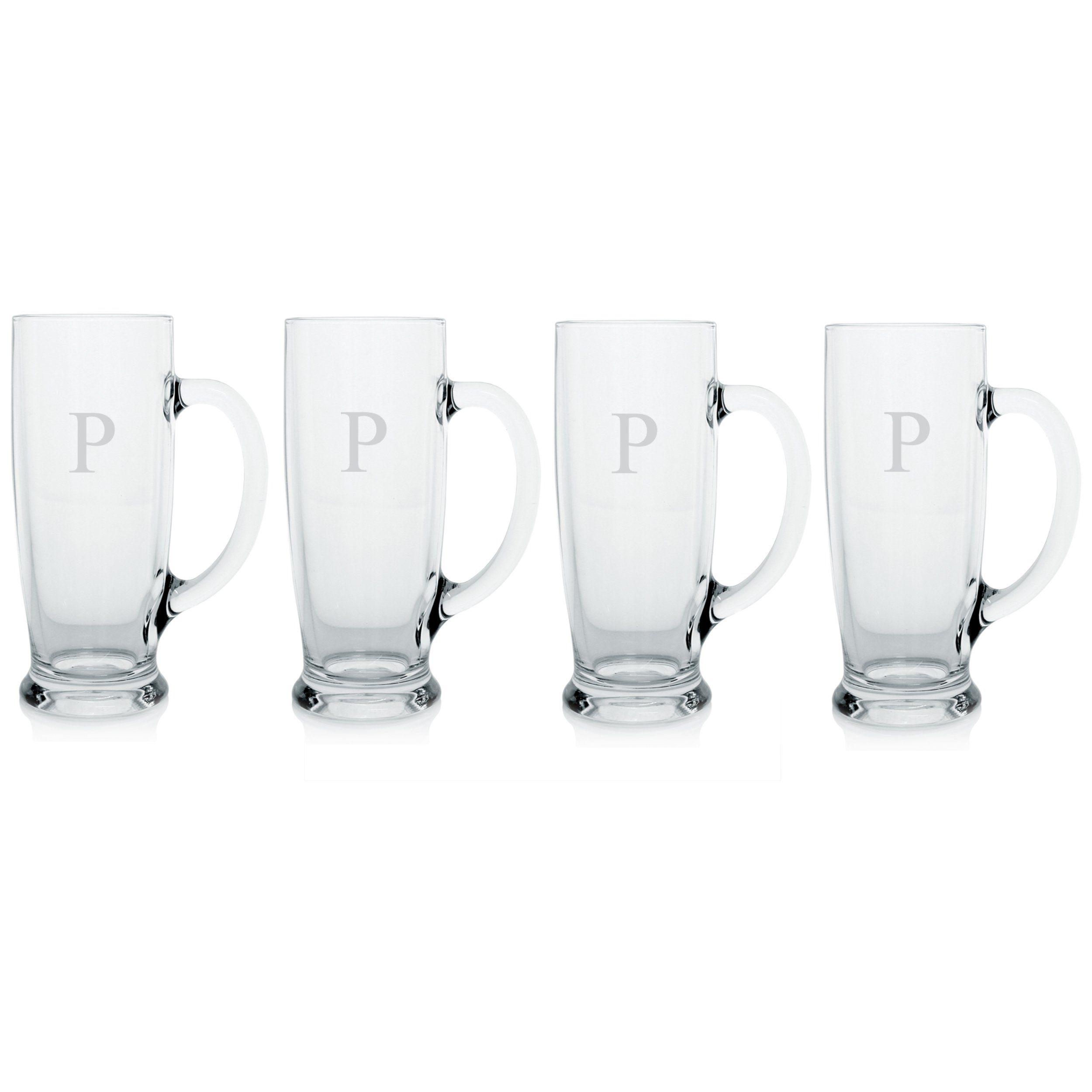 Cathy's Concepts Personalized Craft Beer Mugs, Set of 4, Letter P