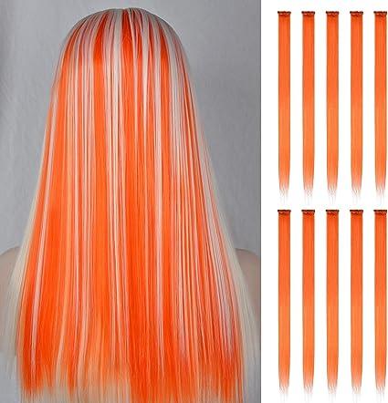 FESHFEN extensiones de cabello colores, 10Pcs de cabello naranja para niñas Party Highlight Postizos de pelo color liso y colorido Clip en disfraces ...
