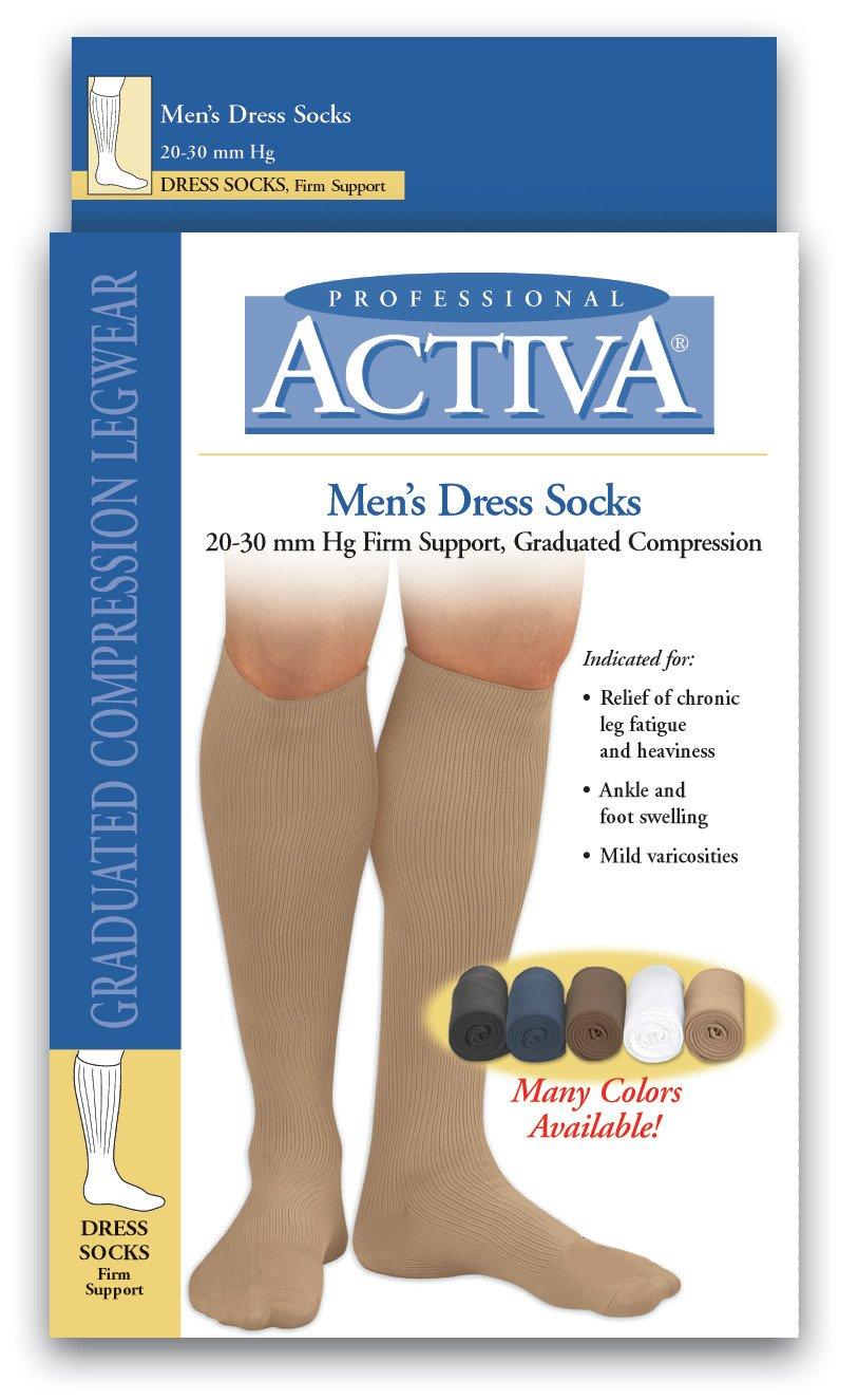 Activa 20-30 mmHg Men's Firm Support Dress Socks, Navy, Small
