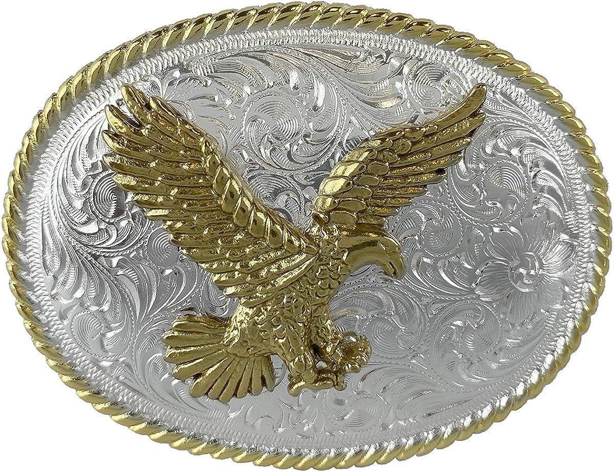 MEN WOMEN LARGE ANTIQUE GOLD METAL COWBOY WESTERN FASHION BUCKLE AMERICAN EAGLE