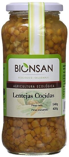 Bionsan Lentejas Cocidas de Cultivo Ecológico - 4 Paquetes de 400 gr - Total : 1600