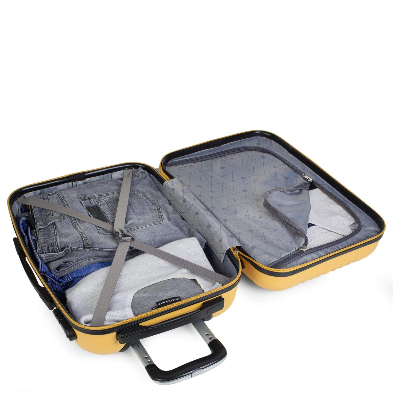 Equipaje de Mano Low Cost Ryanair T71550 Peque/ña Resistente C/ómoda y Ligera Calidad y Dise/ño Color Mostaza Estudiante ITACA Maleta de Viaje Cabina R/ígida 4 Ruedas 55 cm Trolley ABS