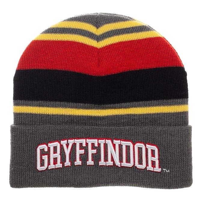 5fee12a9c80 Amazon.com  Bioworld Harry Potter Gryffindor Striped Cuffed Beanie ...