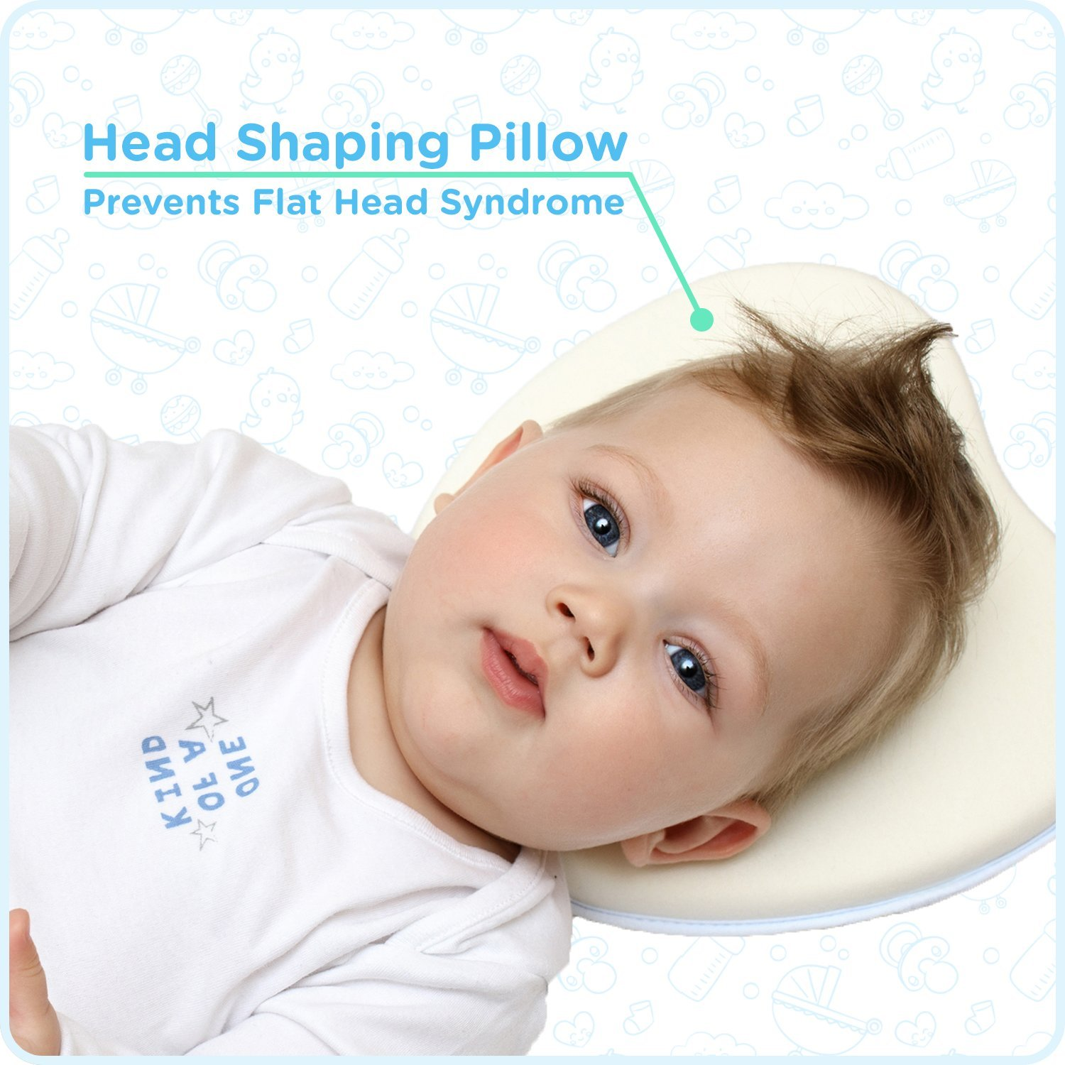 Baby Pillow Head Shaping Pillow for Newborn Breathable Memory Foam Pillow Head Syndrome Prevention by Funky Planet Pillow Light Yellow