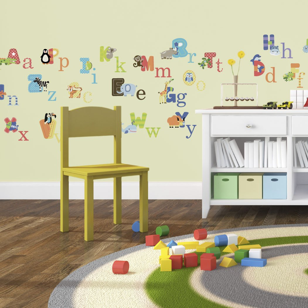Amazon.com: Animal Alphabet Baby Nursery Peel AndStick Wall Art Sticker  Decals: Baby