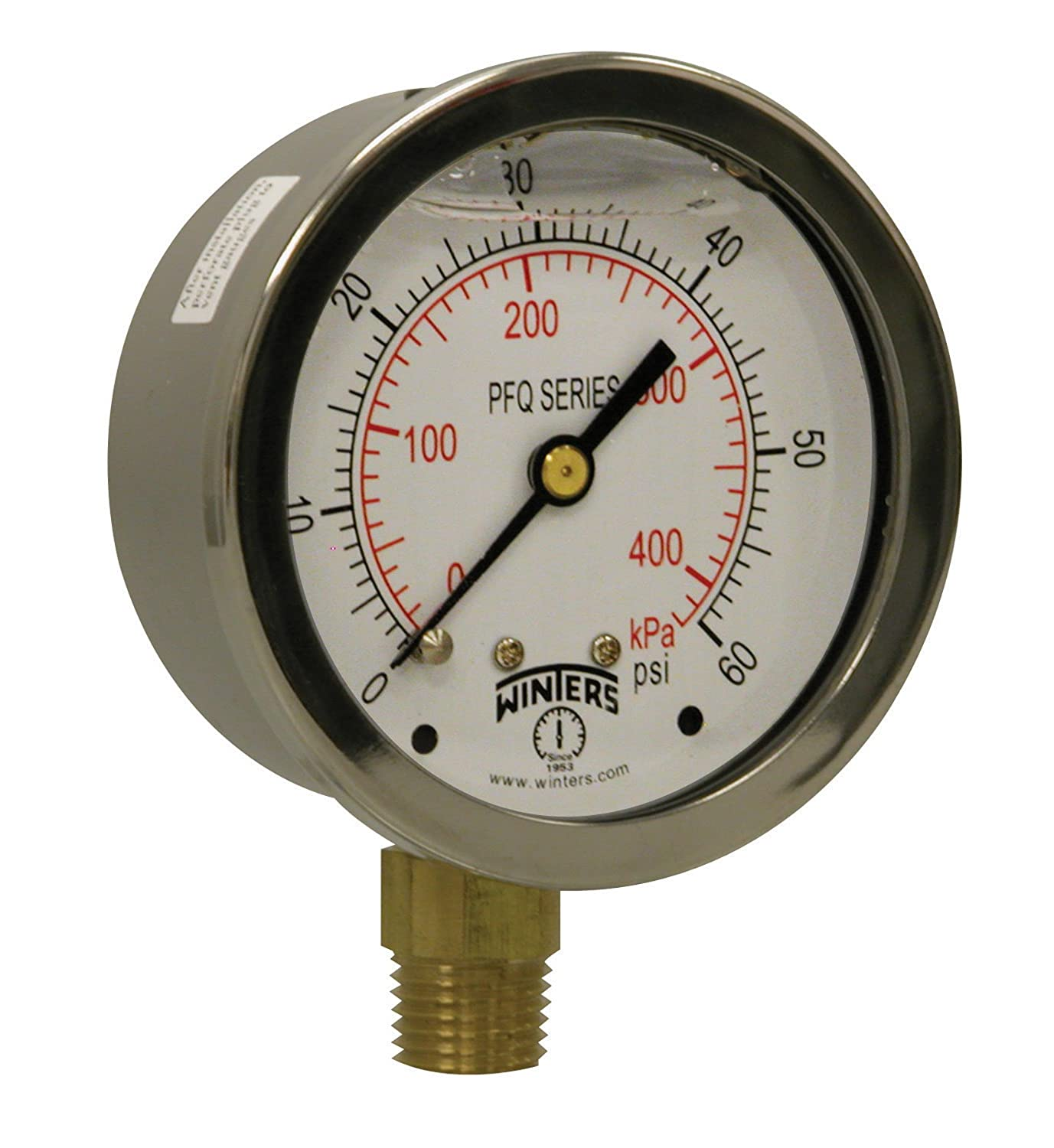 """Winters PFQ Series Stainless Steel 304 Dual Scale Liquid Filled Pressure Gauge with Brass Internals, 0-60 psi/kpa,2-1/2"""" Dial Display, +/-1.5% Accuracy, 1/4"""" NPT Bottom Mount"""