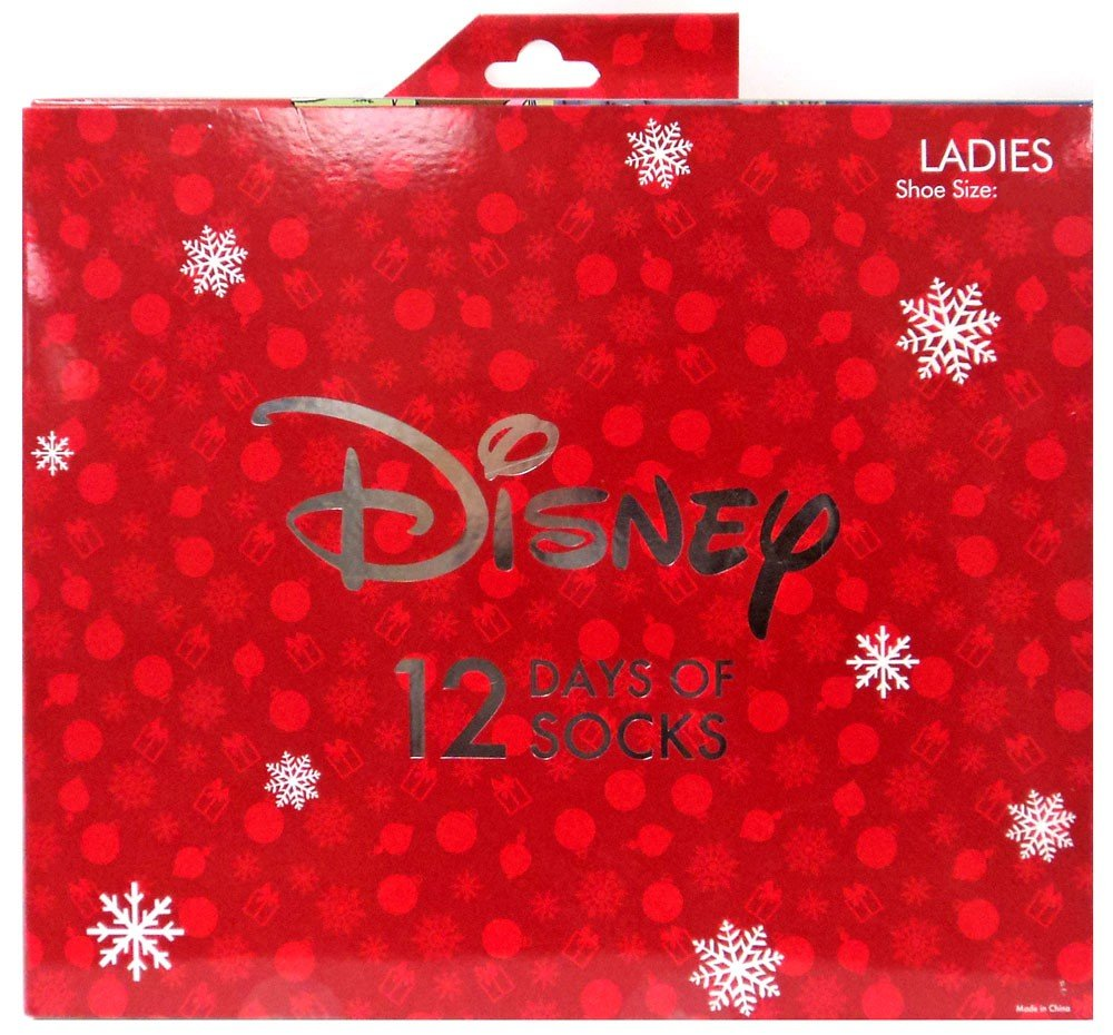 12 Days of Socks Women's Disney Size 4-10 Advent Calendar Stocking Stuffer HYP