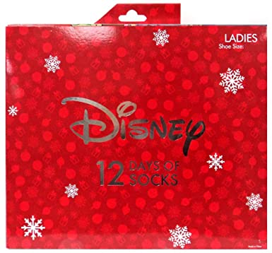 b4200cd5f6694 Image Unavailable. Image not available for. Color: 12 Days of Socks Women's  Disney Size 4-10 Advent Calendar Stocking Stuffer