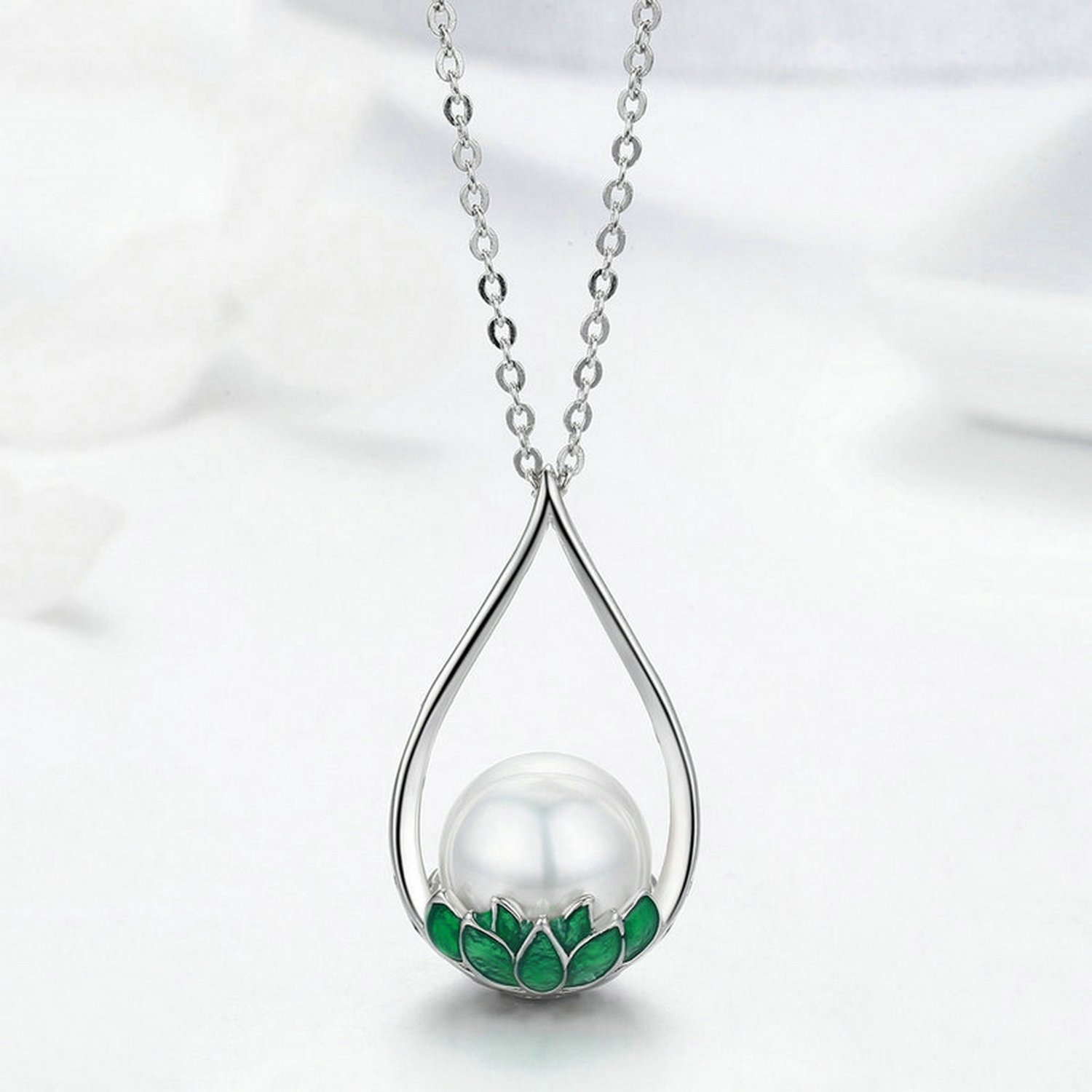 CS-DB Pendants Green Lotus Flower Tear Pearl Silver Necklaces
