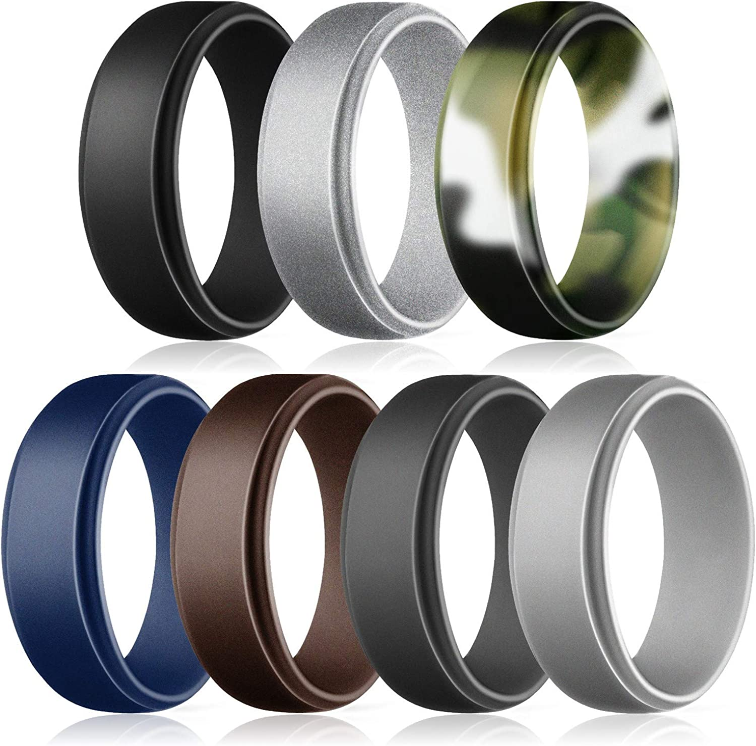 ZIONOR Soft Silicone Wedding Ring for Women Men Durable Rubber Wedding Ring with Suitable Sizes/&Colorful Fashion Design Breathable Rubber Wedding Bands Keep Comfortable at Work Sport