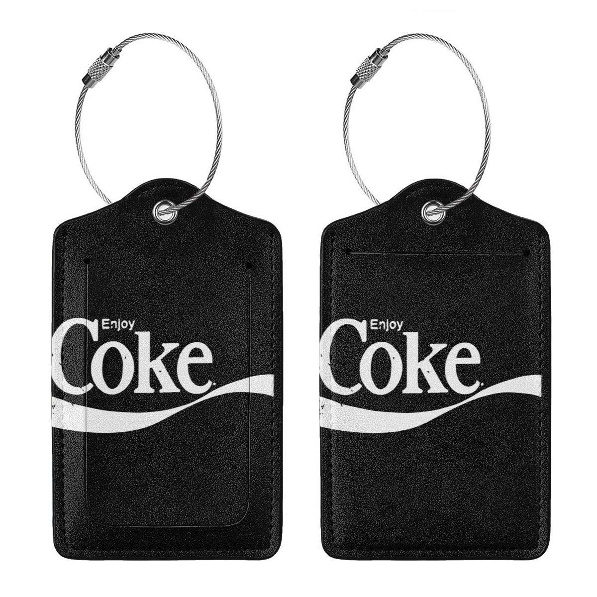Enjoy Coke Leather Luggage Tag Travel ID Label For Baggage Suitcase