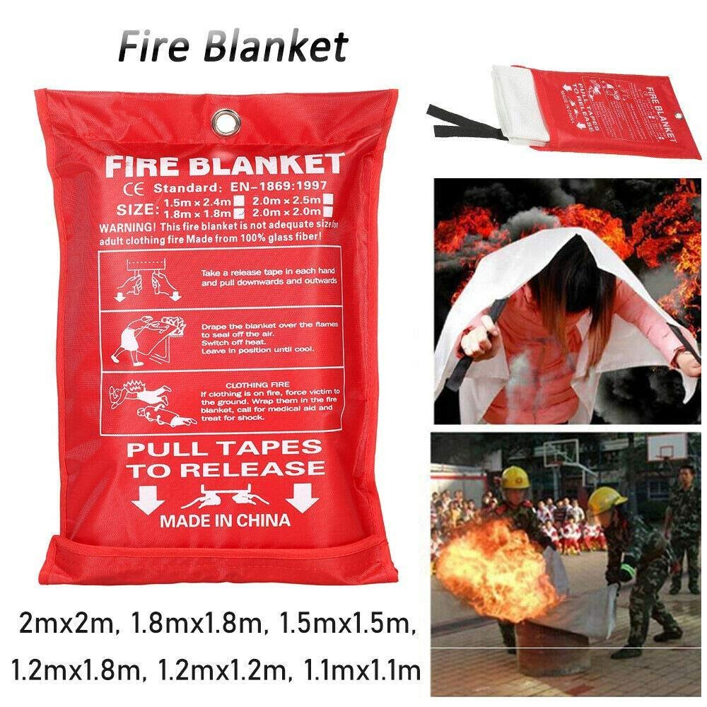 Ideal for Kitchen Home Office Fire Blanket 1.8 * 1.8m Quick Release Safety Fire Blanket in Case with Loops Easy to Install /& Quick to Deploy in Emergency
