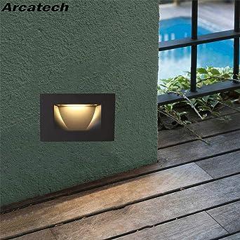 GYBYB Luces de 3W Led Footlight lámpara de esquina empotrada al aire libre Escaleras para escaleras cuadradas de hotel Paso Foyer Pared de esquina Luces de esquina NR-07 @ Cold_White: Amazon.es: Iluminación