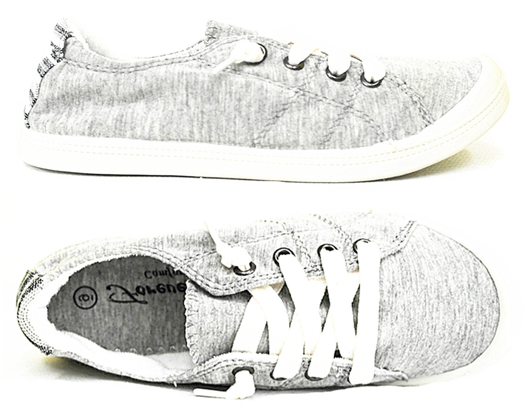 Forever Link Comfort Women's Lace up Casual Street Sneakers Flat Shoes (8.5, L.Gray-01)