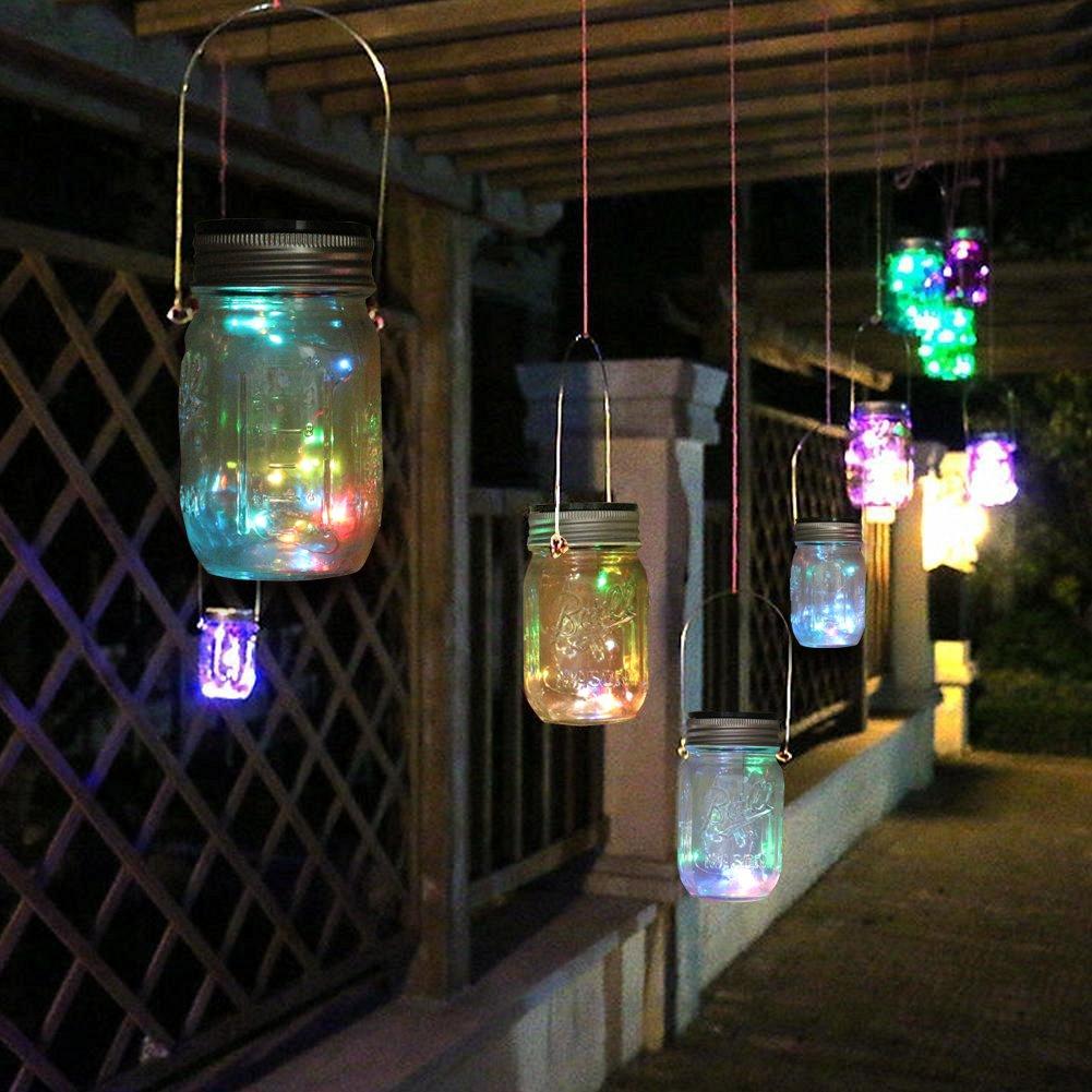 Expower 3 Pezzi Coperchi di Barattolo Mason con 10 Perline Led Luci Solari, Lampadine Creative Natalizie con Sensore Rilevatore Crepuscolare Decorazione per Casa Bar Party Feste (Multicolore)
