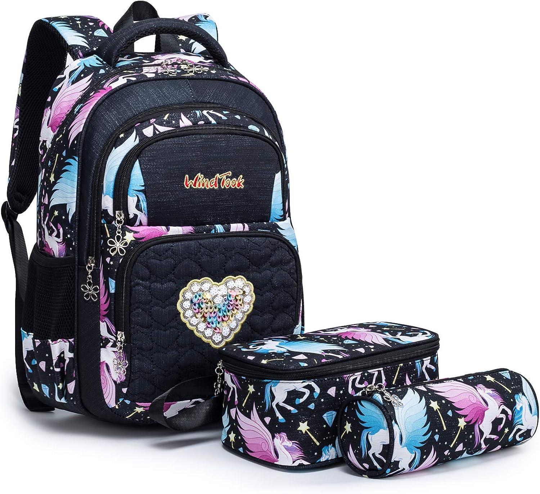 Funny Dog Print 4 Sets Backpack Large Rucksack Toddler Student School Bag Kids