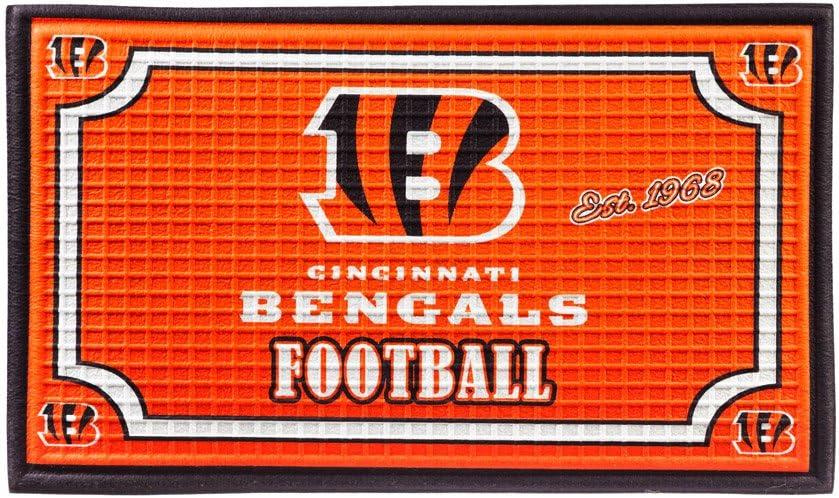 "Team Sports America NFL Cincinnati Bengals Embossed Outdoor-Safe Mat - 30"" W x 18"" H Durable Non Slip Floormat for Football Fans"