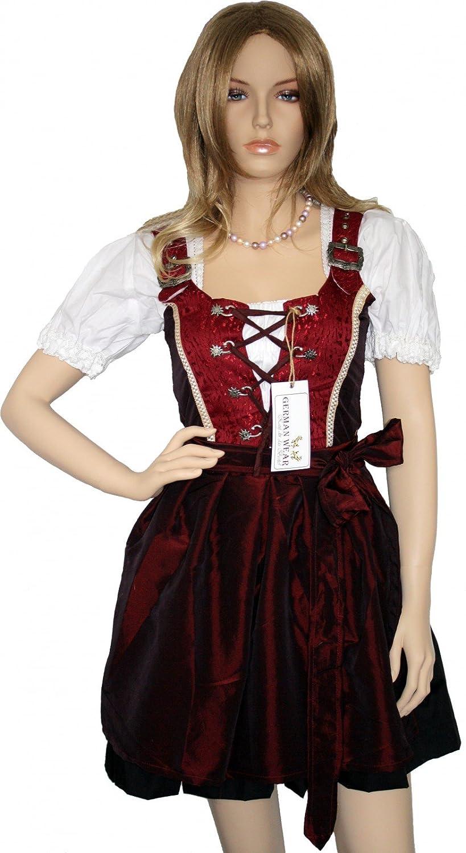 Ladies 4 pieces set Dirndl Bavarian oktoberfest lederhosen Dress wine red, Size:48