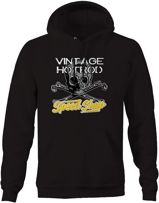 Devil Vintage Speed Shop Skull Crossbones Yellow Racing Garage Hoodie for Men