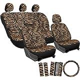 OxGord 17pc Set Zebra Animal Print Auto Seat Covers Set - Front Low Back Buckets - Rear Split Bench - Orange & Black