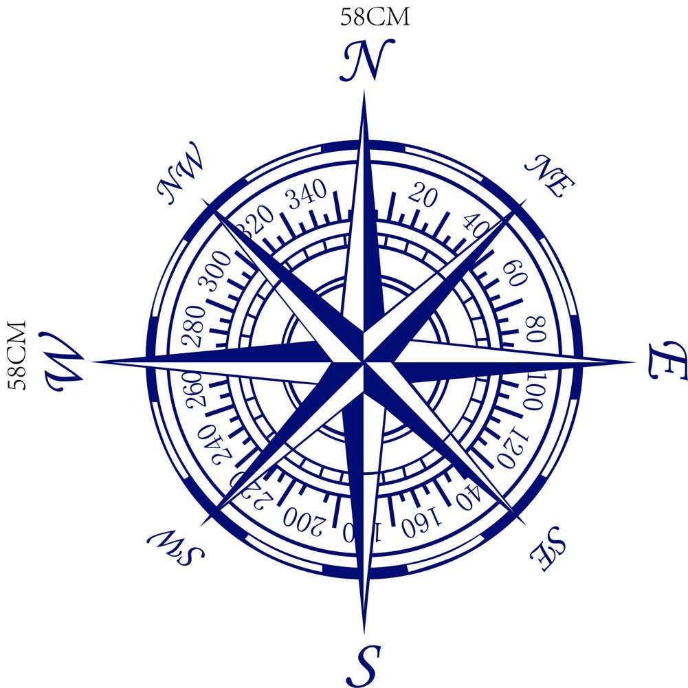 "BIBITIME Nautical Compass Rose Wall Decal Decor Vinyl Decals for Living Room Sofa Couch TV Background Bedroom Nursery Art Mural,Dark Blue,22.83"" x 22.83"""