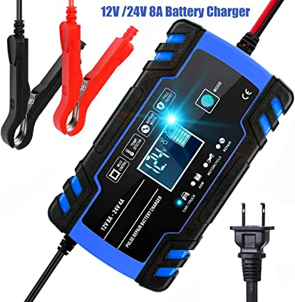 12 Volt Battery Float Trickle Charger Car Maintainer Truck Lawnmower Motorcycle