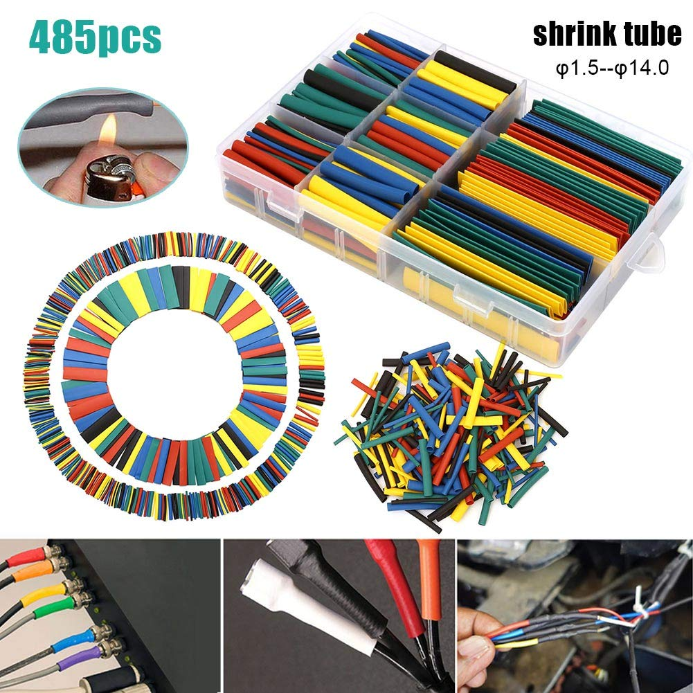 Tulas 485 Pcs Heat Shrink Tubing Insulation Protection Flame Retardant Tube Sleeving Wrap Car Electrical Cable Wire Kit Set