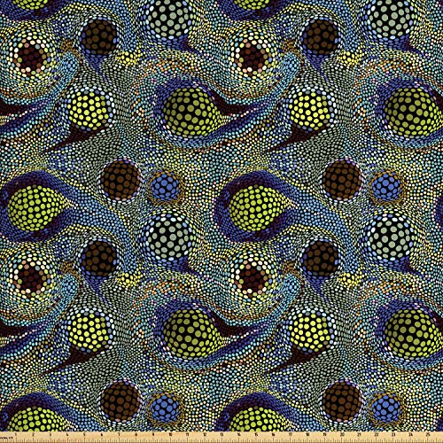 (Ambesonne Paisley Fabric by The Yard, Circles Pattern with Persian Folklore Inspired Teardrop Motifs Oriental Design, Decorative Fabric for Upholstery and Home Accents, 2 Yards, Multicolor)
