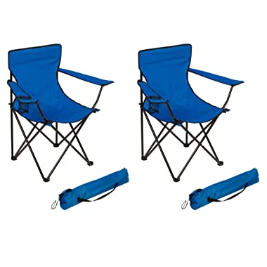 Trademark Innovations Portable Folding Camp Chair by (Blue)