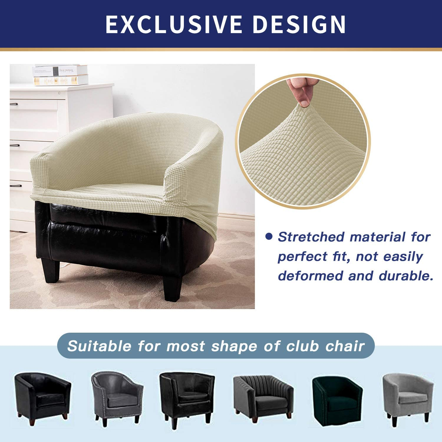 ZC MALL Club Chair Slipcovers,Stretch Armchair Covers,Sofa Cover Furniture Protector for Living Room Arm Chair Cover Jacquard Spandex Couch Covers(Club Chair,Ivory): Furniture & Decor