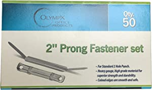 2 Inch Capacity Premium Prong Paper Fastener Complete Set, 2.75 Inch Base with Standard 2-Hole Punch for Home, Work, and School, Clip Brass by Olympx (50 per Box)