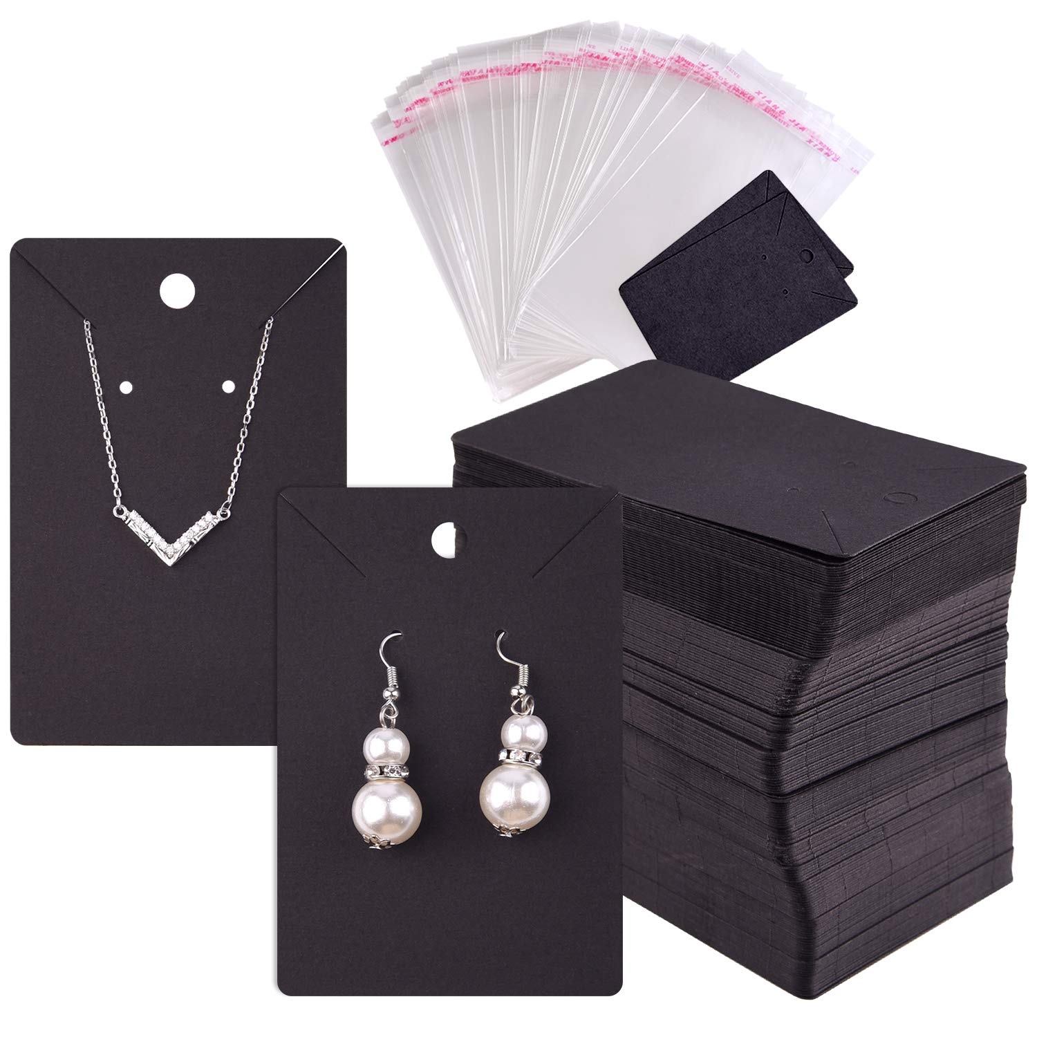 TUPARKA 120 Pcs Earring Display Card, Necklace Display Cards with120Pcs Self-Seal Bags,Earring Card Holder Blank Kraft Paper Tags for DIY Ear Studs and Earrings,3.5 x 2 Inches (Black)