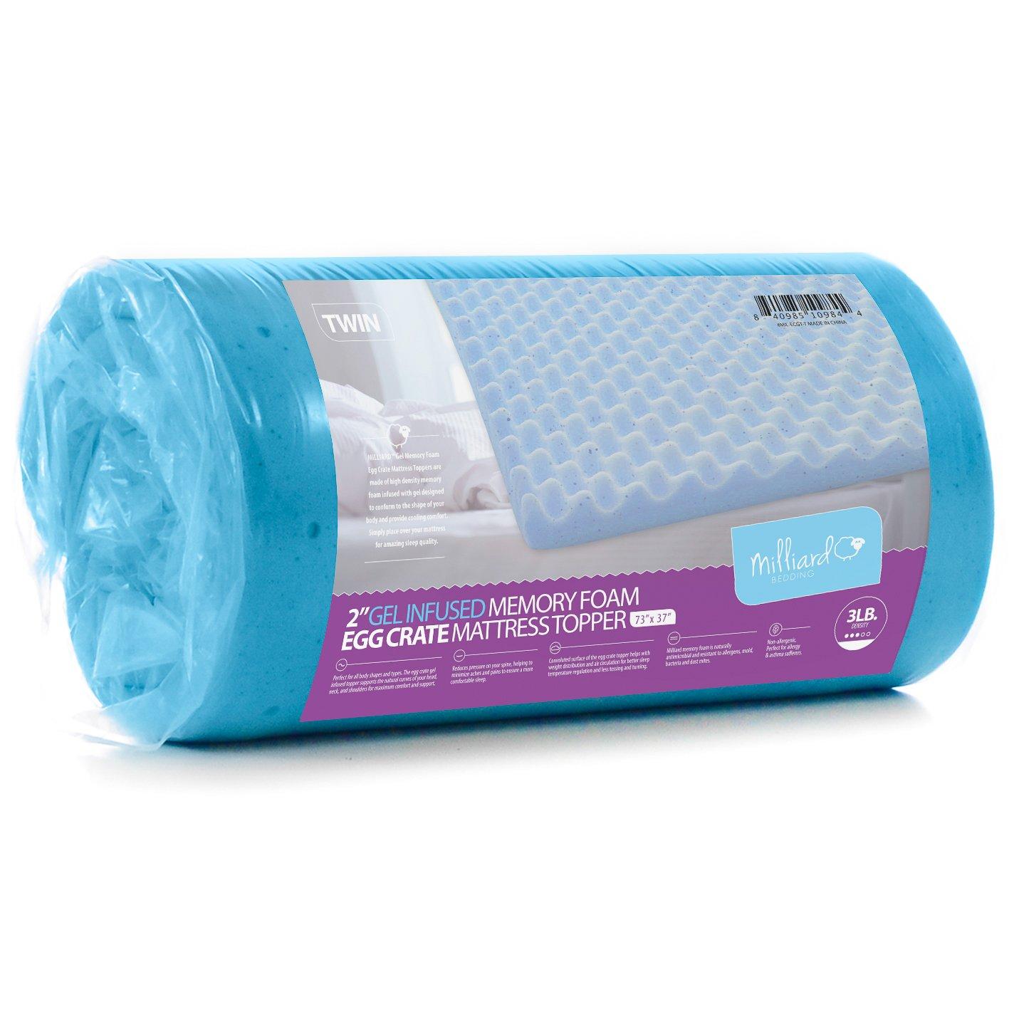 Milliard 2in. Egg Crate Gel Memory Foam Mattress Topper ...