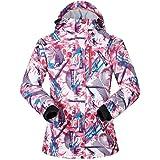 Women's Ski Jacket Outdoor Waterproof Windproof Coat Snowboard Mountain Rain Jacket Bright Colorful Print