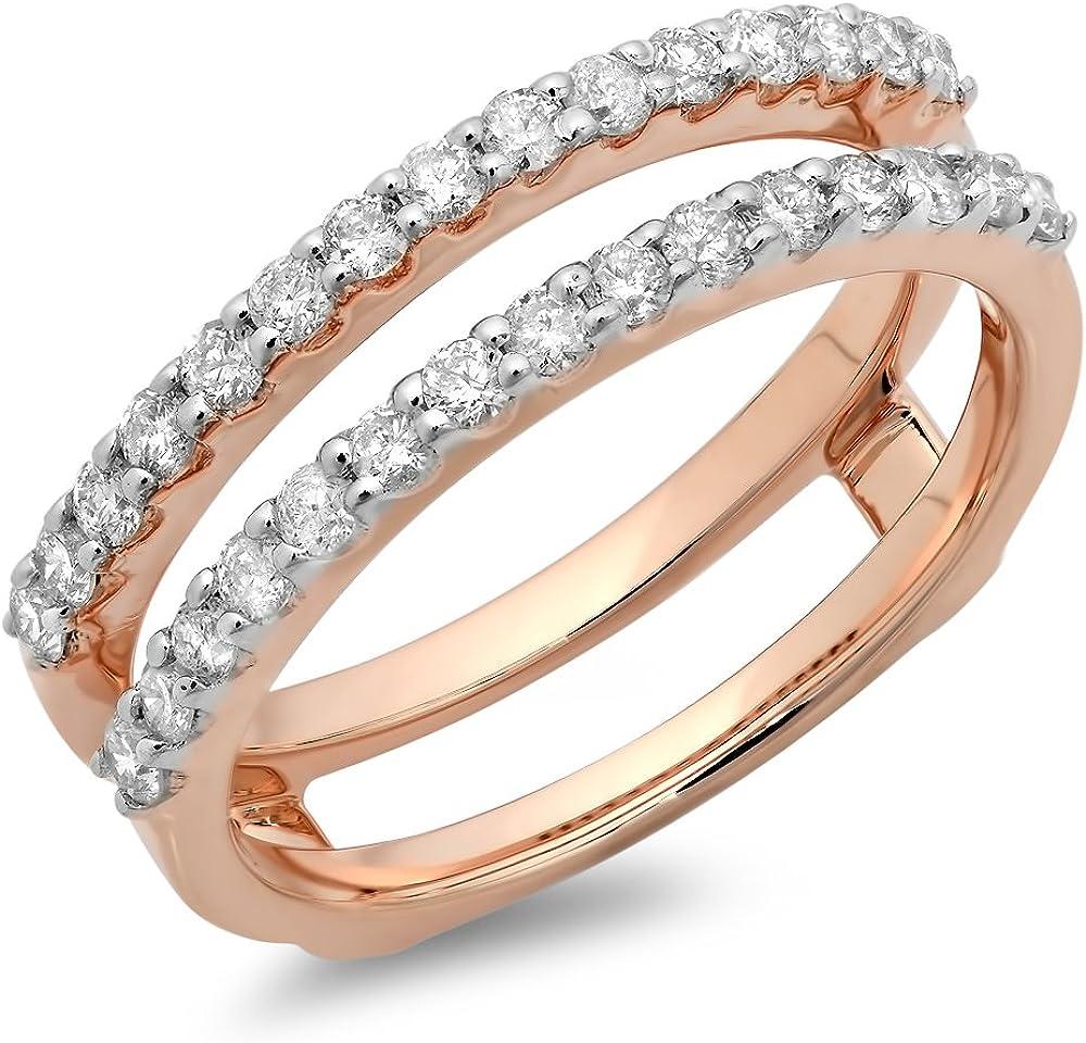 Dazzlingrock Collection 0.50 Carat (ctw) 14K Gold Round Diamond Ladies Anniversary Wedding Band Enhancer Guard Double Ring 1/2 CT