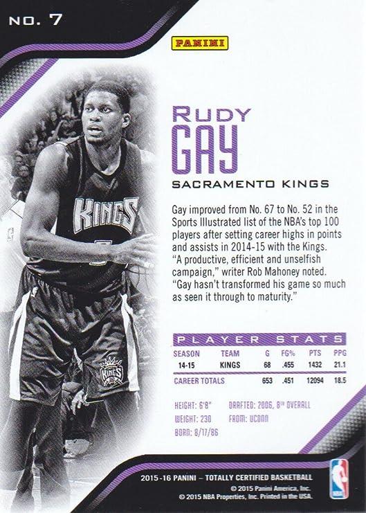 2015-16 Totally Certified Basketball #7 Rudy Gay Sacramento