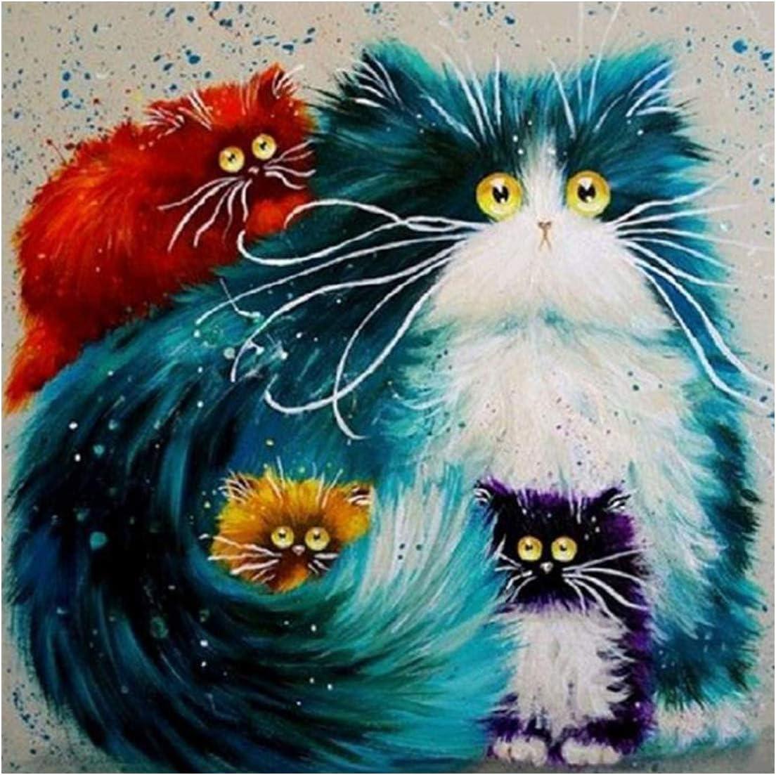 5D Kit de pintura de diamante para gatos,DIY 5D diamond painting gatos familia DIY Rhinestone bordado punto de cruz artes manualidades para decoración de la pared del hogar 30x30 cm: Amazon.es: Hogar