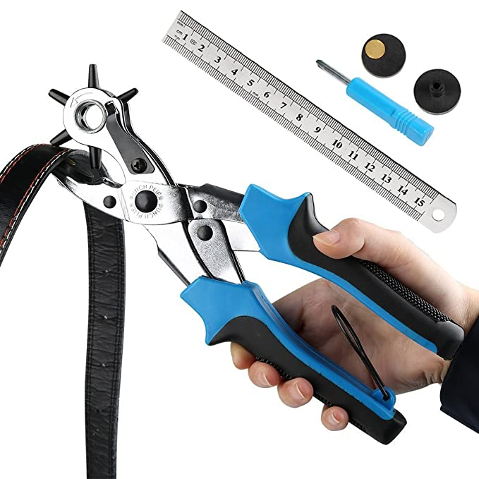 Cinturón agujero perforadora, ballery profesional resistente alicate Sacabocados para piel 2.0 - 4,5 mm, azul: Amazon.es: Bricolaje y herramientas