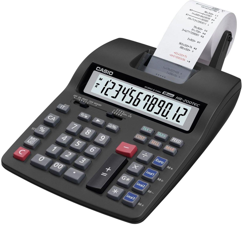 CASIO Calcolatrice da Tavolo per Calcolo Imposte, Colore Grigio HR200TEC