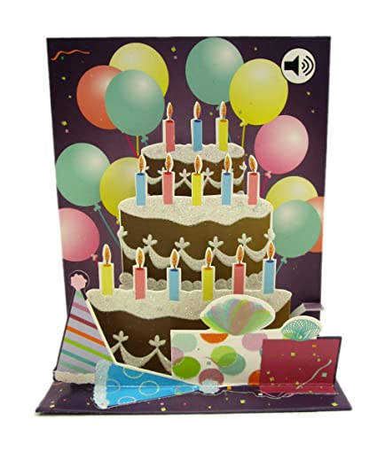 3D Pop Up Balloons Cake Birthday Card With Sound Effects