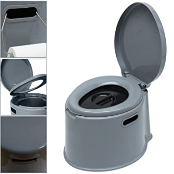 Large 5l Compact Portable Toilet Potty Loo With Washable Basket Toilet Roll Holder For Pool Partt Camping Caravan Picnic Fishing Festivals