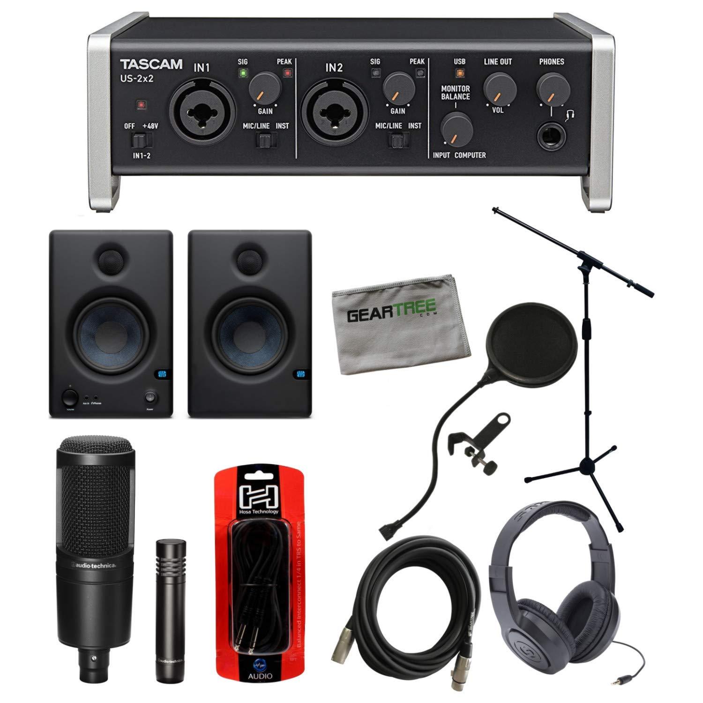 Tascam US 2x2 USB Interface w/Studio Monitors, Headphones, Mic Stand, 2 Microph