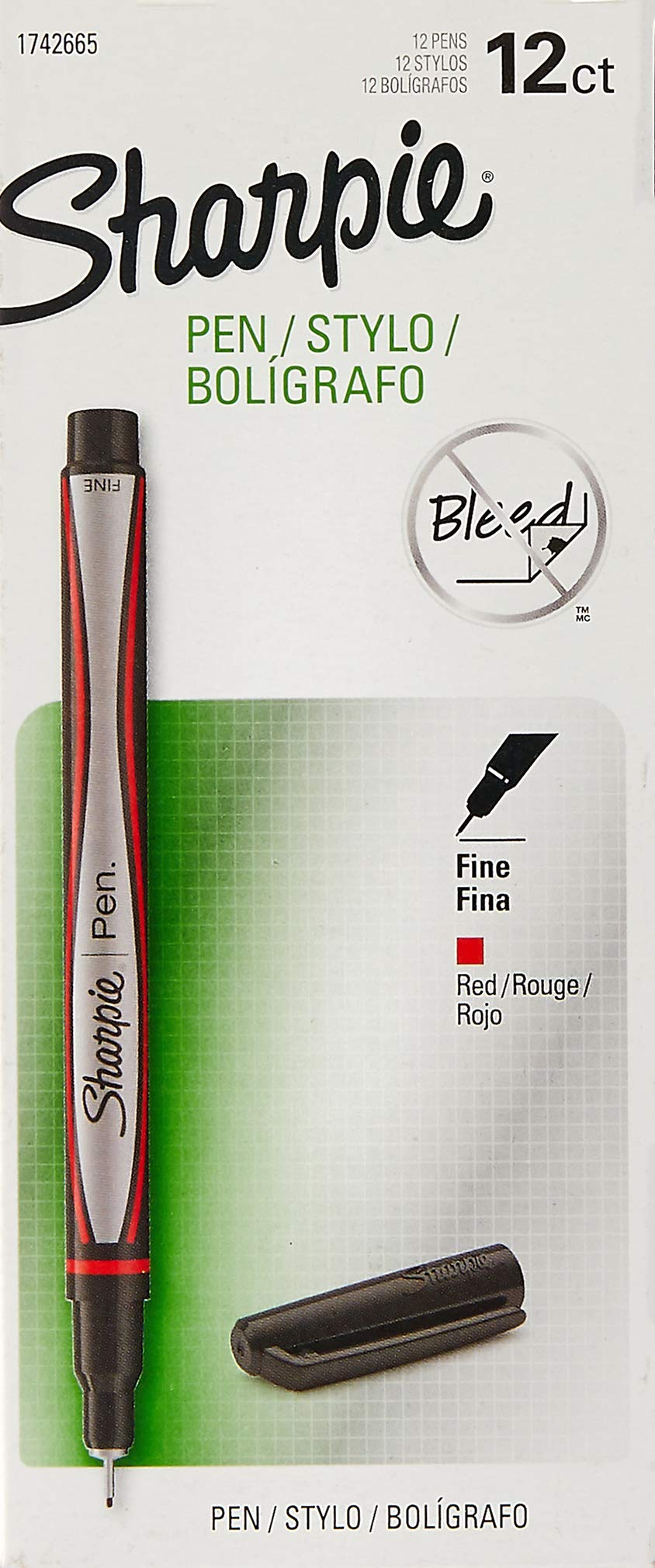 Sharpie 1742665 Pens, Fine Point, Red, Box of 12 by SHARPIE