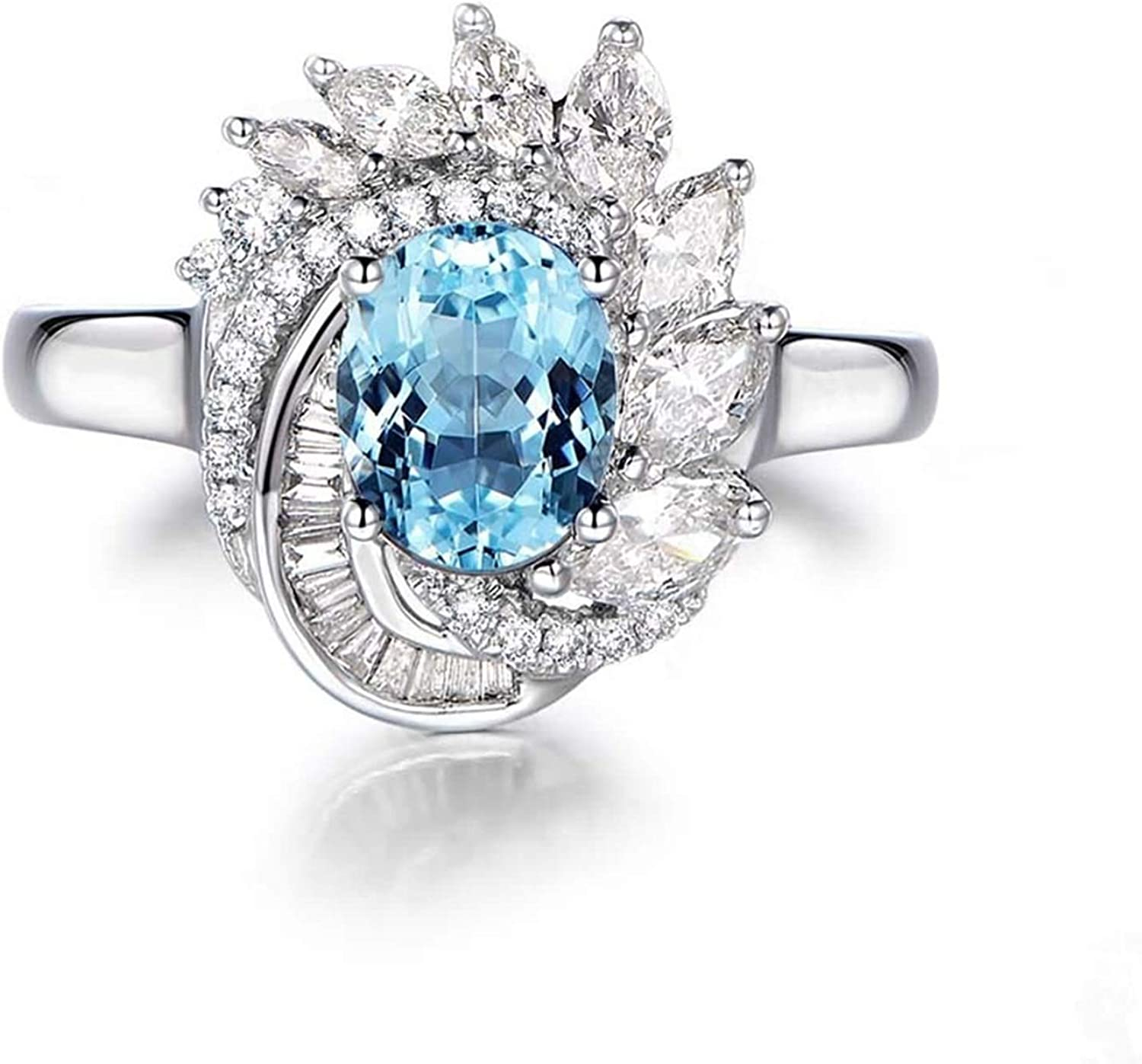 AMDXD Jewelry 925 Sterling Silver Anniversary Ring for Women Oval Cut Topaz Flower Rings
