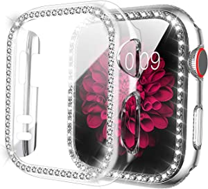ZXK CO Compatible Apple Watch Case 44mm Series 6/5/4 with Tempered Glass Screen Protector, Bling Cases Shiny Diamond Rhinestone Bumper Frame Full Protective Case for iWatch Series 4 5 6 SE (44mm)