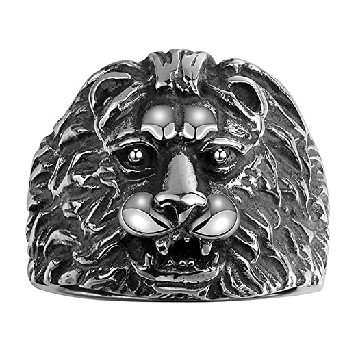 HongBoom Men s 316L Stainless Steel Gold Lion Rings Heavy Metal