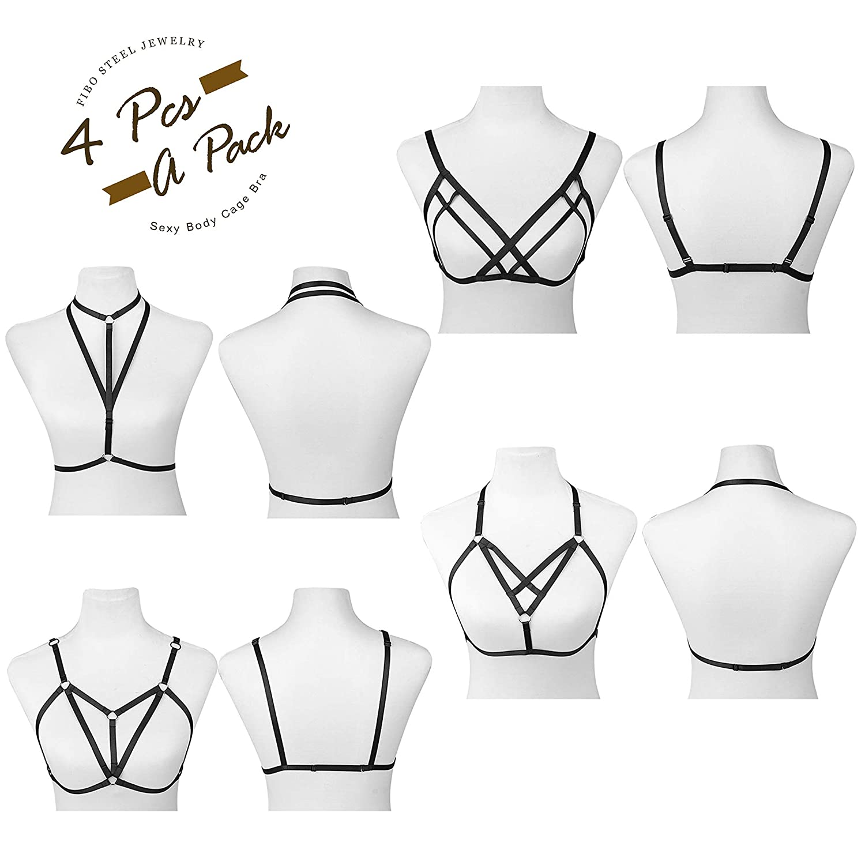 ddc77f2acd6 Amazon.com  FIBO STEEL 4 Pcs Womens Strappy Cage Bra Sexy Bra Harness for  Women  Clothing