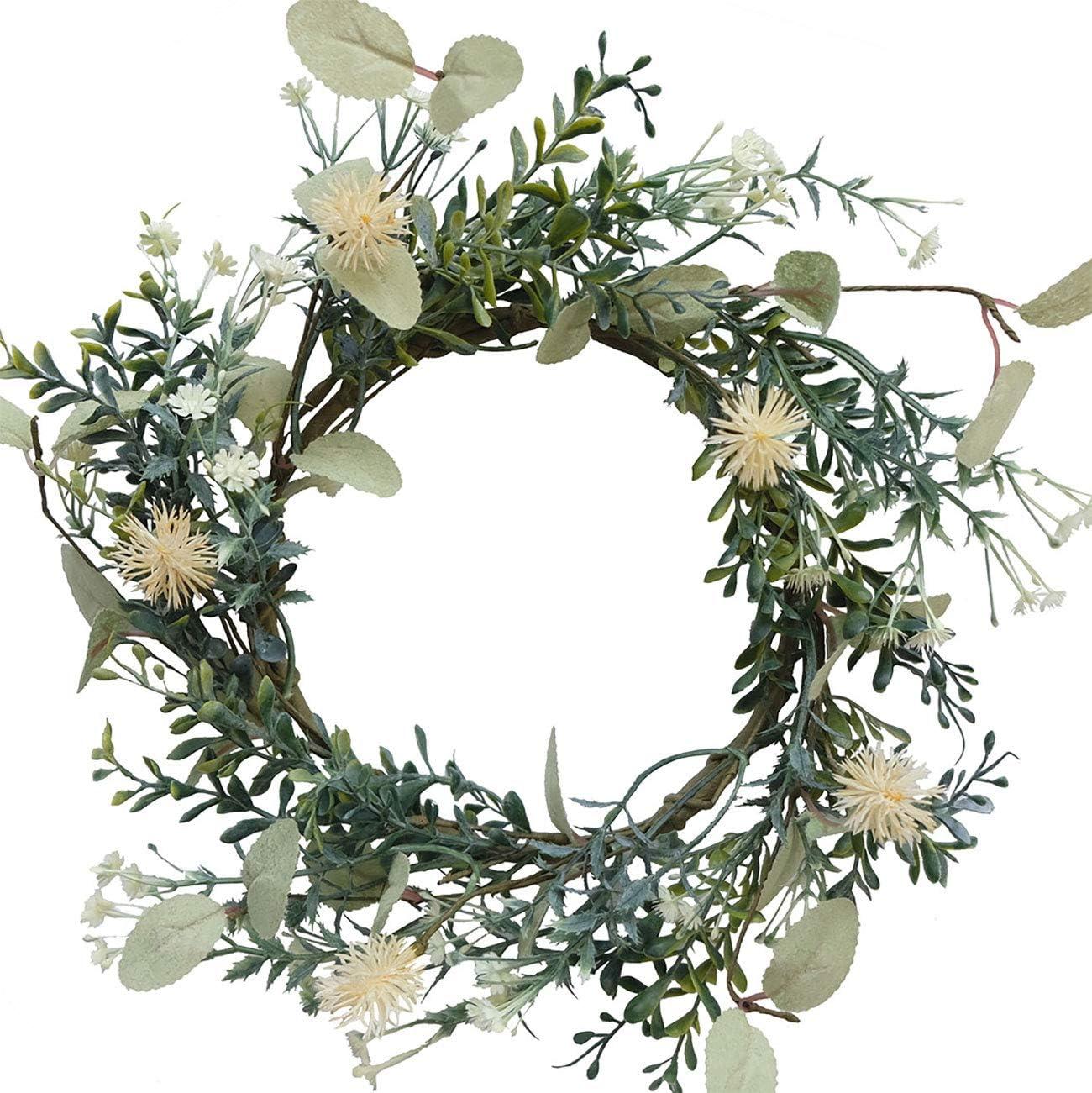 Bibelot Artificial Baby's Breath Flower Wreath Green Leaves Wreath Summer Wreath Farmhouse Decor for Front Door Wedding Wall Home Decor (14in)